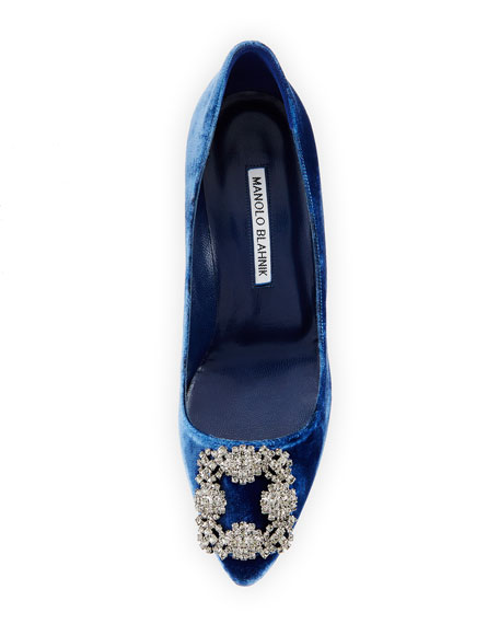 Hangisi Crystal-Buckle Velvet 70mm Pump, Blue