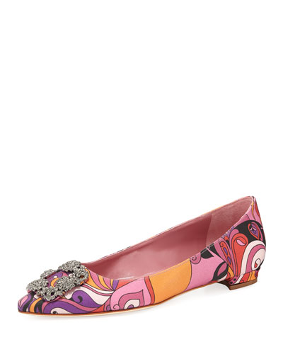 Hangisi Crystal-Buckle Printed Satin Flat