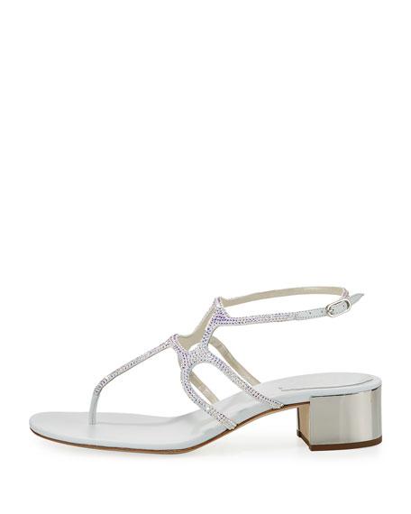 Crystal T-Strap 40mm Sandal, White