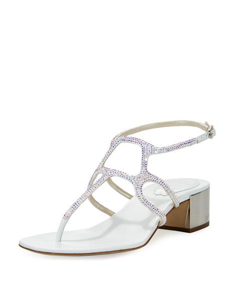 Rene Caovilla Crystal T-Strap 40mm Sandal, White
