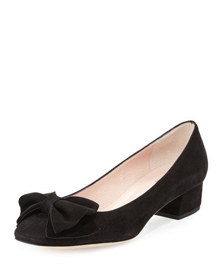 molly suede low heel bow pump black