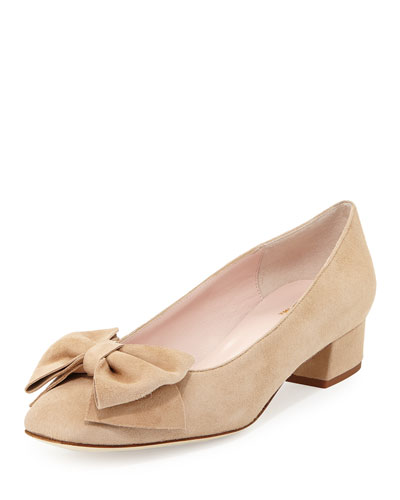 molly suede low-heel bow pump, sand