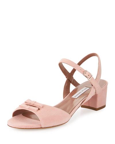Bonnie Suede 40mm City Sandal, Peach