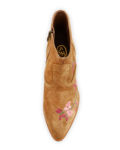 Heidi Embroidered Western Bootie, Russet