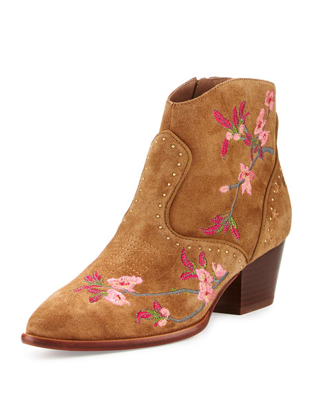 Ash Heidi Embroidered Western Bootie, Russet
