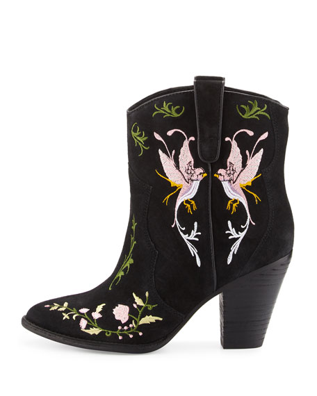 Jenny Embroidered Western Bootie, Black/Birds
