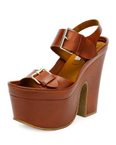 Buckle Faux-Leather Platform Sandal, Praline