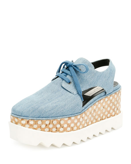 Elyse Denim Platform Creeper, Zinc