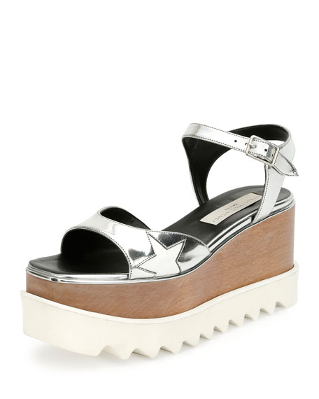 Stella McCartney Star Wooden-Platform Sandal, Indium/White