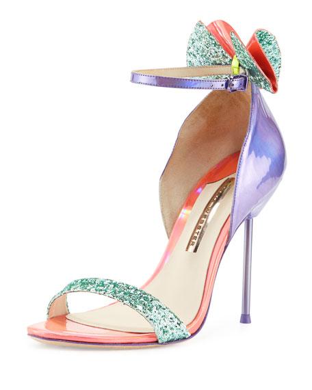 Maya Bow Iridescent 115mm Sandal, Violet