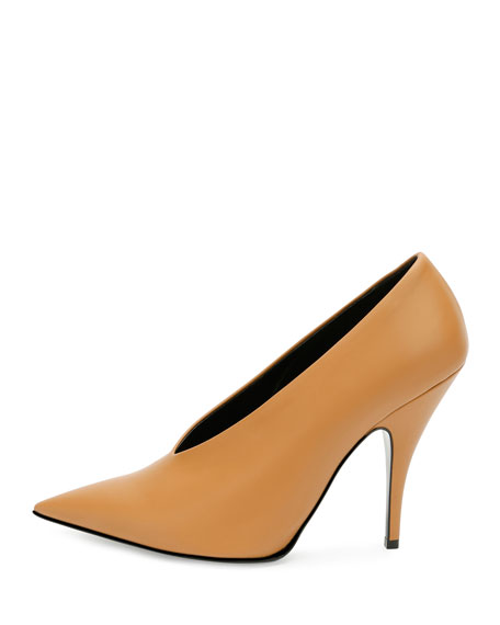 Stella McCartney High-Vamp Pointed-Toe Pump, Tan