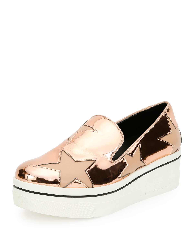 bb932e79ea92 Stella McCartney Binx Metallic Star Slip-On Sneakers, Copper Tea Rose
