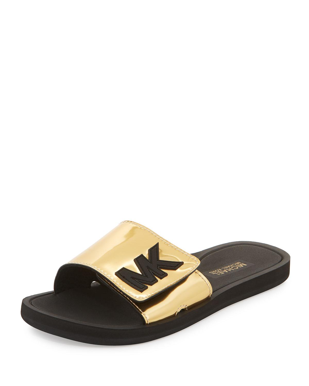 d54a90b16429 MICHAEL Michael Kors MK Metallic Slide Sandals