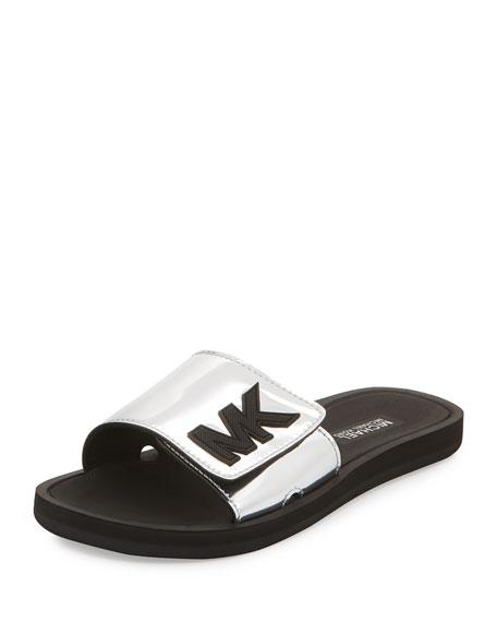 MK Metallic Slide Sandal, Silver