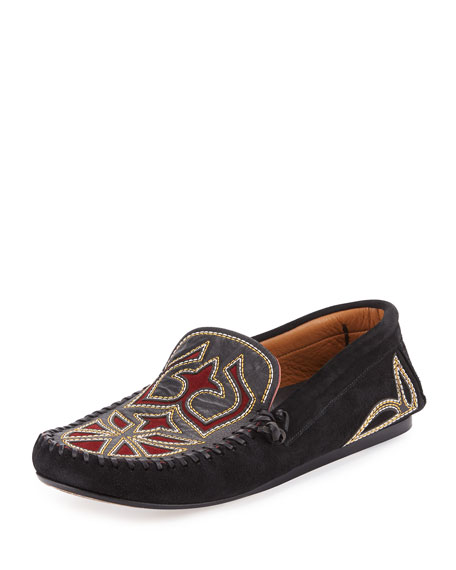 Isabel Marant Finha Embroidered Suede Loafer, Black