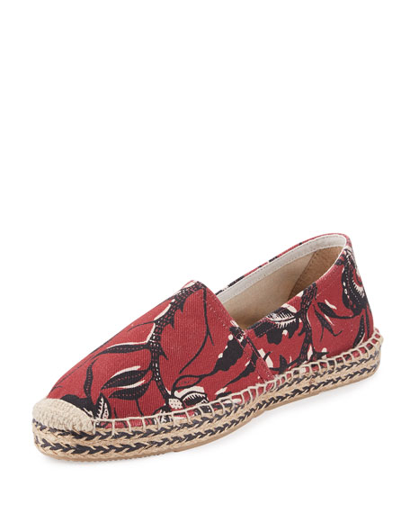 Image 1 of 4: Canaee Printed Espadrille Flat, Burgundy