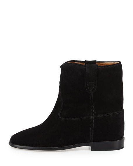 Crisi Western Suede Flat Bootie, Black