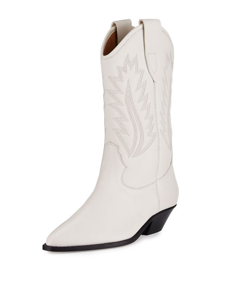 Isabel Marant Dallin Leather Western Boot, White