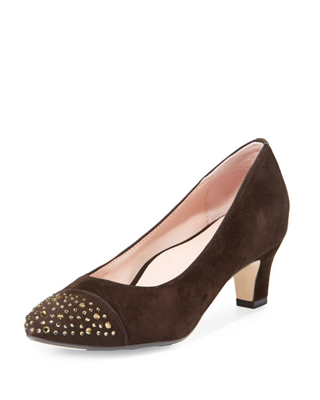 Taryn Rose Trulie Crystal Suede Low-Heel Pump, Chocolate