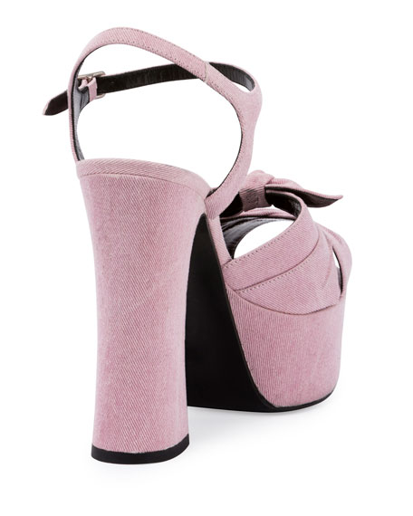 Candy Denim Platform 135mm Sandal, Rosado