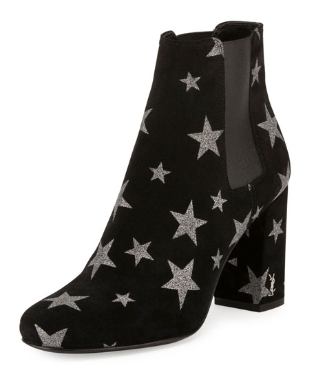 Saint Laurent Babies Star 90mm Chelsea Boot, Nero/Argento