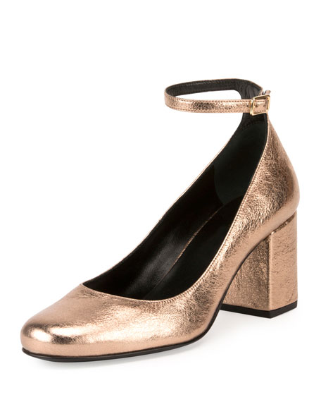 Saint Laurent Babies Metallic 70mm Ankle-Wrap Pump, Blush