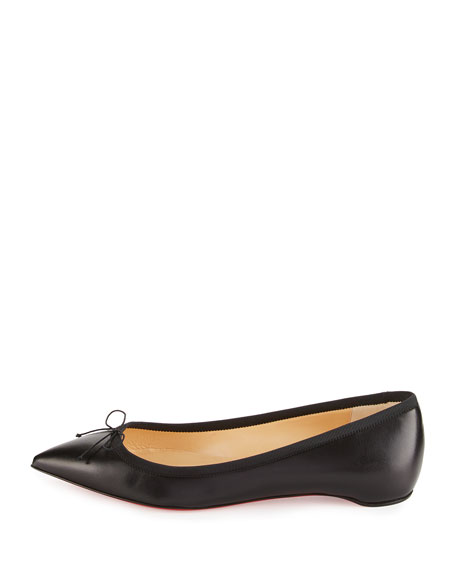 Christian Louboutin Solasofia Bow Red Sole Skimmer Flat, Black