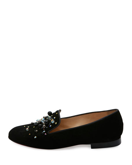 Candy Moc Jeweled Red Sole Loafer, Black