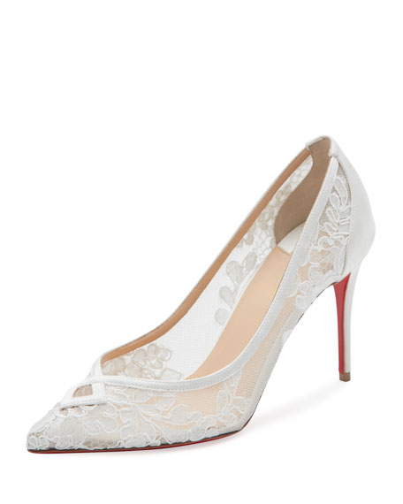 christian louboutin white lace heels