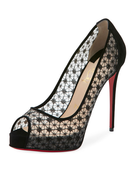 Very Lace Platform 120mm Red Sole Pump, Black