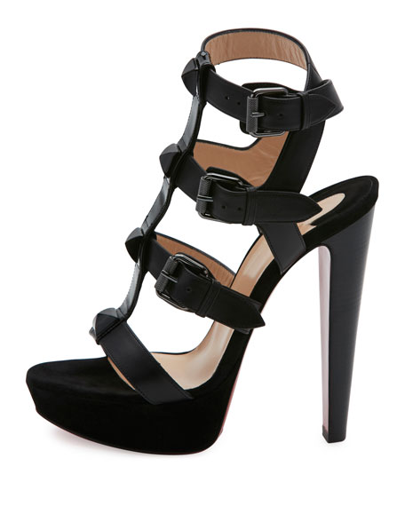 Rockin Buckle Up 140mm Red Sole Sandal, Black