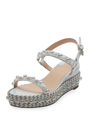 Cataconico Patent 60mm Wedge Red Sole Sandal, White