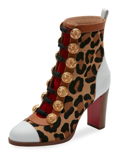 Who Dances Button 85mm Red Sole Bootie, Gold