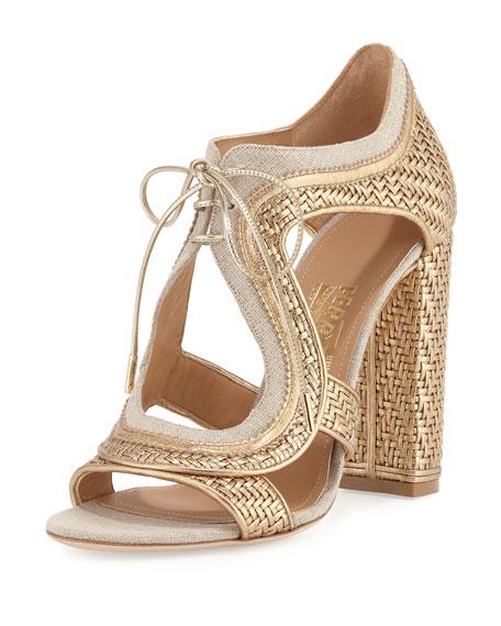 Salvatore Ferragamo Twist Woven Lace-Up Sandal, Mekong/Yuta
