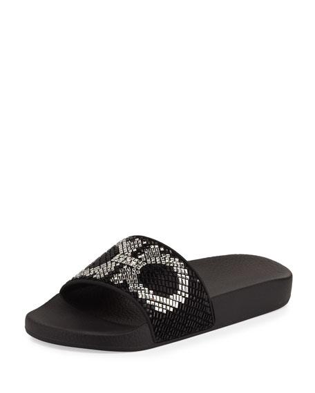 Salvatore Ferragamo Gancini Flat Slide Sandal, Black/White