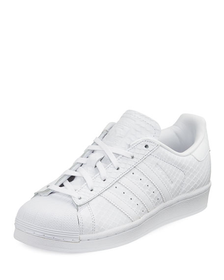 Superstar Snake-Embossed Sneaker, White
