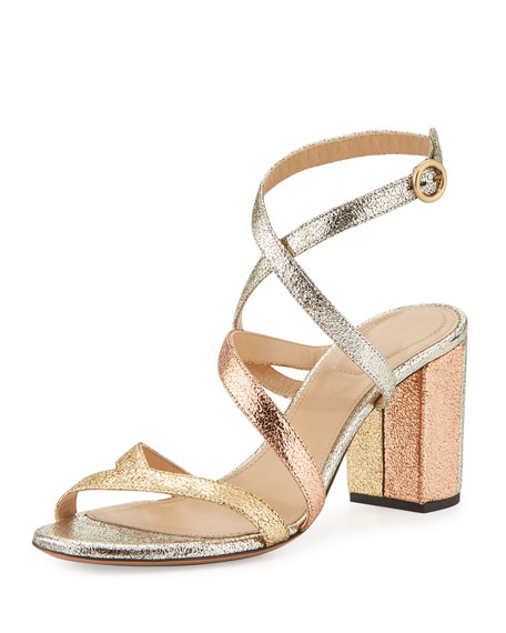 Chloe Metallic Crisscross 70mm Sandal, Gold Mix