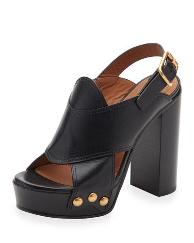 Crisscross Leather Slingback 100mm Sandal, Black