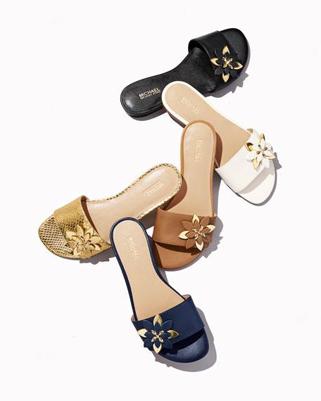 Heidi Floral Flat Slide Sandal, Pale Gold