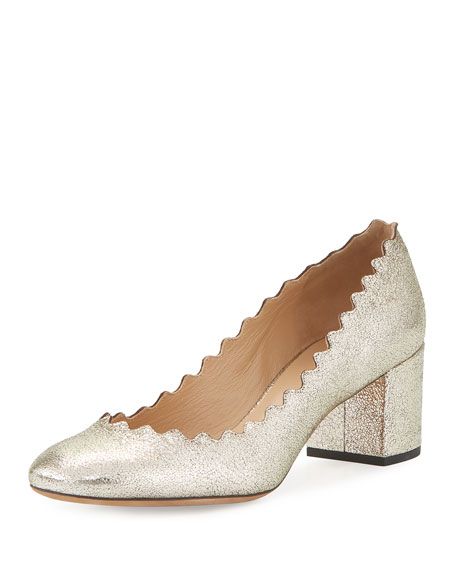 Chloe Lauren Leather 50mm Pump, Gray Glitter