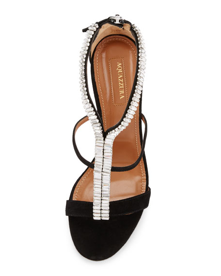 Constance Crystal 105mm Sandal, Black