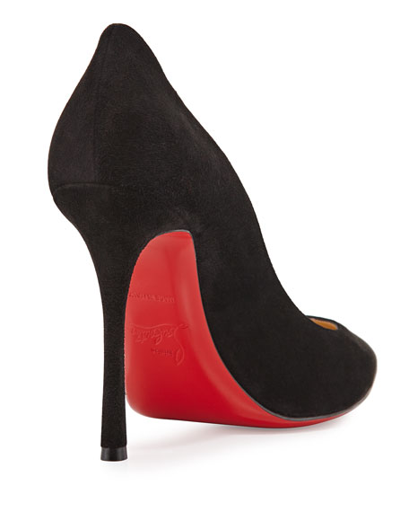 Decoltish Suede 100mm Red Sole Pump, Black