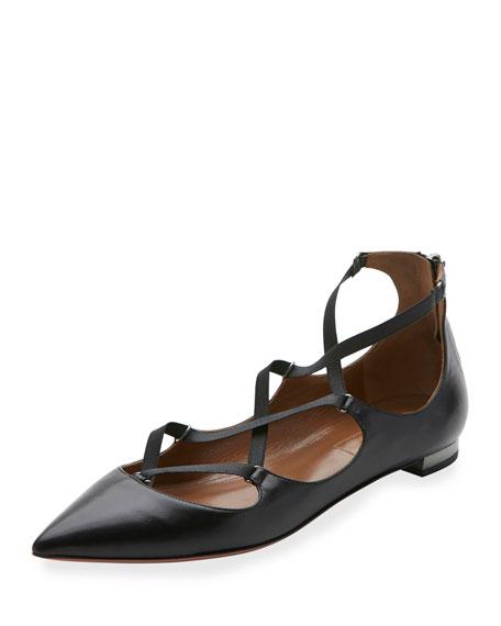 Aquazzura Mischa Strappy Leather Flat, Black