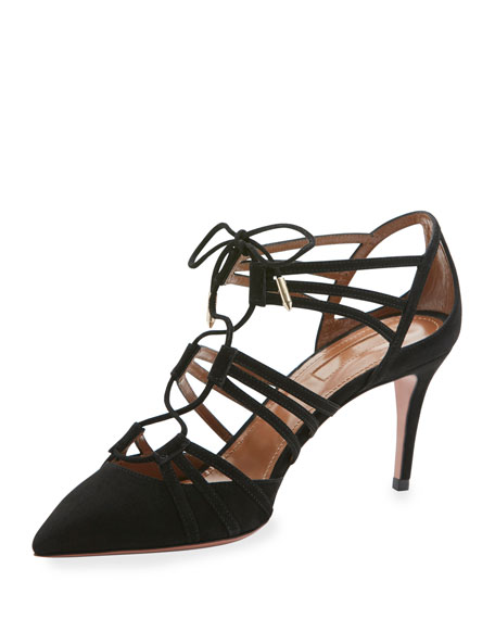 Roma Lace-Up Suede 75mm Pump, Black