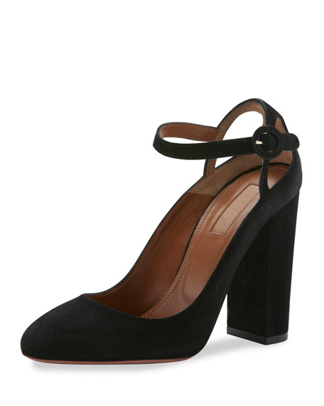 Aquazzura Sweet Thing Suede 105mm Pump, Black