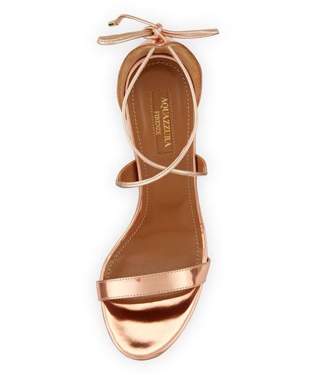 Linda Metallic Leather 75mm Sandal, Rose Gold