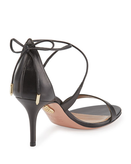 Linda Napa Leather 75mm Sandal, Black