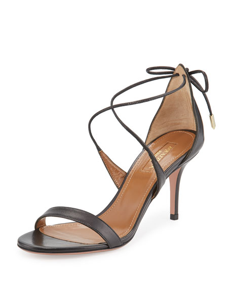 Aquazzura Linda Napa Leather 75mm Sandal, Black