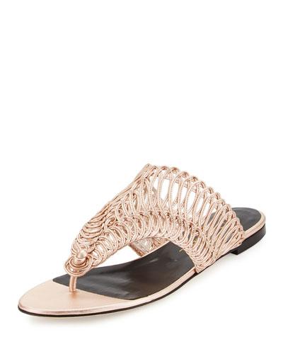Cindy Macramé Flat Thong Sandal, Rose Gold