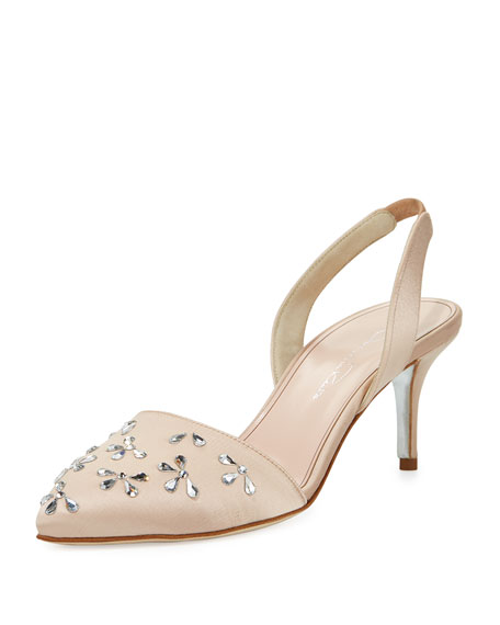 Aerin Crystal 55mm Slingback Pump, Beige